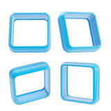 Abstract frame copyspace boarders of blue plastic. Abstract application frame copyspace square boarders made of blue glossy plastic, set of four isolated on vector illustration