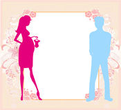 Abstract frame with a couple - baby shower card Royalty Free Stock Photos