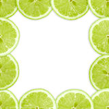 Abstract frame with cross of lime fruit Royalty Free Stock Images