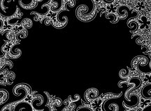 Abstract frame with curling figured white shapes. Vector decorative background Royalty Free Stock Image
