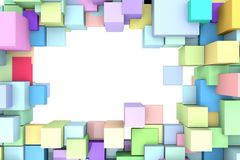 Abstract frame of 3D cubes. Abstract background to create banners, covers, posters, cards, etc Stock Image