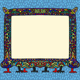 Abstract frame. Fantastic colorful abstract frame on animal paws Stock Photography
