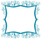Abstract frame with flowers in blue Stock Photos