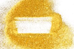 Abstract frame with gold glitter sparkle on white. Background with border for your design.  stock photos
