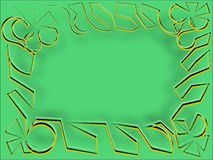 Abstract frame on the green rows of bulky yarn Stock Images