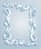 Abstract frame. Illustration of abstract frame from floral cutouts in blue, grey and white colors Stock Illustration