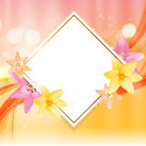 Abstract Frame with Lily Flower. Natural Background. Vector Illu Royalty Free Stock Image