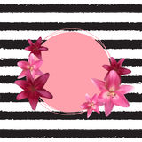 Abstract Frame with Lily Flower. Natural Background. Vector Illustration Stock Photo