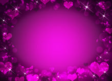 Abstract frame with magenta hearts Stock Photos