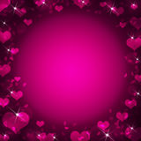 Abstract frame with magenta hearts Royalty Free Stock Photography