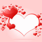 Abstract frame with red hearts Stock Image