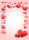 Abstract frame with red hearts Stock Photos