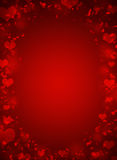 Abstract frame with red hearts Royalty Free Stock Image