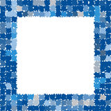 Abstract frame with rough jagged edges. Photo frame in different shades of blue and gray. Vector Stock Images