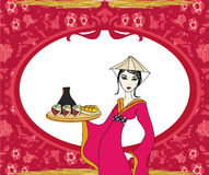 Abstract frame with sushi and geisha Royalty Free Stock Photography
