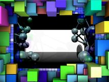 Abstract frame with three-dimensional shapes. Stock Photos