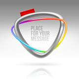 Abstract frame with tubular colorful element. And red label Royalty Free Stock Photo