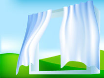 Abstract frame window with white blue curtains Royalty Free Stock Images