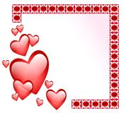 Abstract Frame With Glossy Hearts Stock Photos