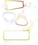 Abstract frames. With colored abstract shapes. Can be used as templates for different texts for cards or banners Stock Photography