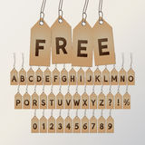 Abstract Free Tag Font and Numbers Royalty Free Stock Photos