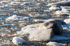 Abstract frozen ice blocks in the sea Royalty Free Stock Photos
