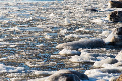 Abstract frozen ice blocks in the sea Royalty Free Stock Photography