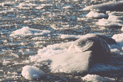 Abstract frozen ice blocks in the sea - vintage retro effect Royalty Free Stock Photography