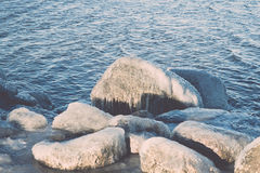 Abstract frozen ice blocks in the sea - vintage retro effect Royalty Free Stock Photos
