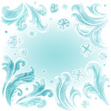 Abstract frozen ice texture on winter window. In water color style Royalty Free Stock Images