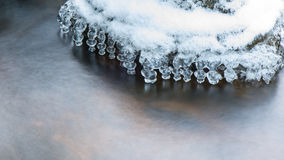 Abstract frozen ice textures in the river Stock Images