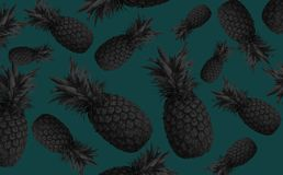 Abstract fruit background with colorful pineapples. Bright fruit concept. Background of a wall, frame, pineapples, abstraction royalty free stock images