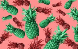 Abstract fruit background with colorful pineapples. Bright fruit concept. Background of a wall, frame, pineapples, abstraction stock images