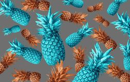 Abstract fruit background with colorful pineapples. Bright fruit concept. Background of a wall, frame, pineapples, abstraction royalty free stock image