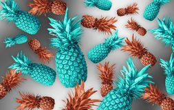 Abstract fruit background with colorful pineapples. Bright fruit concept. Background of a wall, frame, pineapples, abstraction royalty free stock photos
