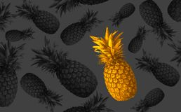 Abstract fruit background with colorful pineapples. Bright fruit concept. Background of a wall, frame, pineapples, abstraction stock photos