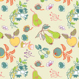 Abstract fruit and flowers. Abstract background of illustrated fruit and flowers Stock Image
