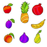 Abstract fruit food graphic art set color  illustration Stock Image