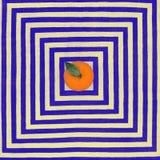 Abstract Fruit: Opmerkelijke sinaasappel op het Vierkante Klopje als achtergrond Stock Afbeelding