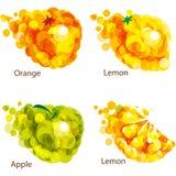 Abstract  fruits: orange, apple, lemon. Royalty Free Stock Image