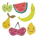 Abstract fruits in scandinavian style. Collage art. Stock Illustration
