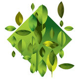 Abstract full color modern background with leaves. Green geometric illustration Royalty Free Stock Images