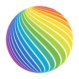 Abstract full color rainbow spectrum striped ball. Swirl sphere for business concept or logo design. Isolated round icon on white stock illustration