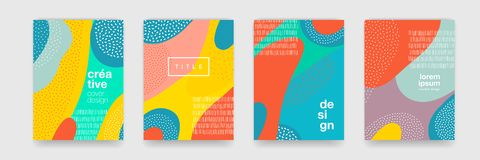 Abstract fun color pattern cartoon texture for doodle geometric background. Vector trend shape for brochure cover template design.  stock illustration