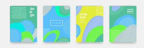 Abstract fun dot pattern cartoon texture for doodle geometric background. Vector green, blue, yellow trend shape for brochure cove. R template design vector illustration