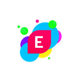 Abstract fun E letter logo creative flat children avatar vector Royalty Free Stock Images