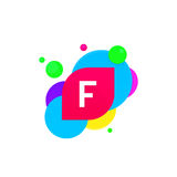 Abstract fun F letter logo creative flat children avatar vector Stock Photo