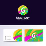 Abstract fun G letter logo sign. Flat children hexagon avatar  Royalty Free Stock Photography