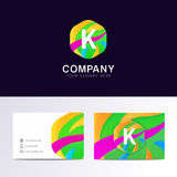 Abstract fun K letter logo sign. Flat children hexagon avatar  Stock Photography