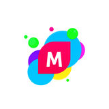 Abstract fun M letter logo creative flat children avatar vector Stock Image